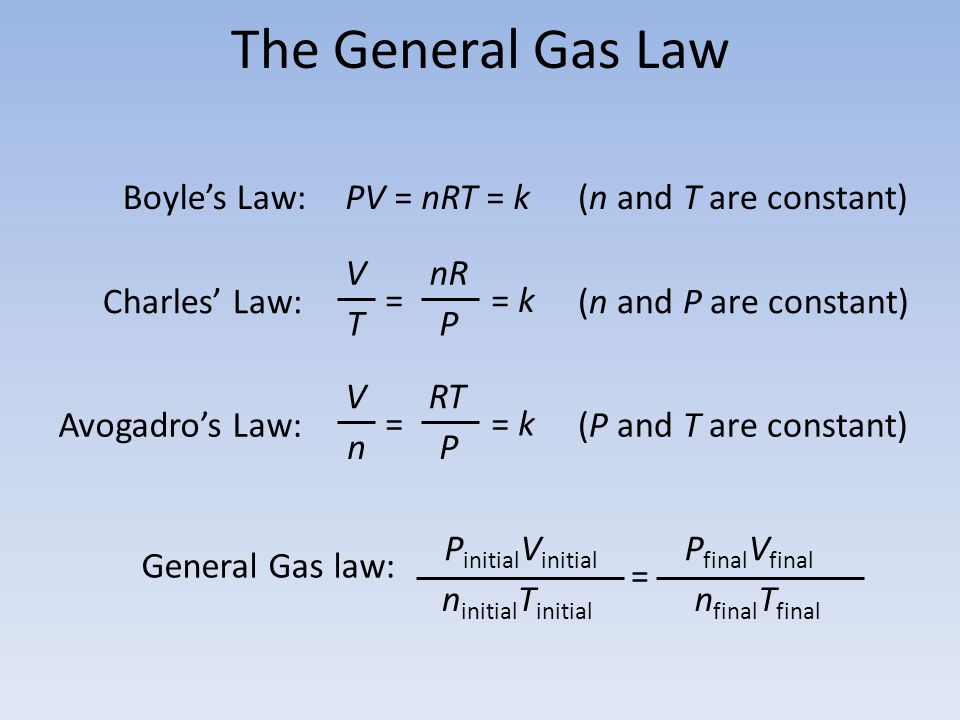 The General Gas Law Boyle's Law: PV = nRT = k (n and T are constant)
