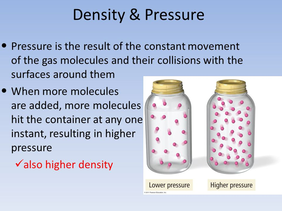 Density & Pressure Pressure is the result of the constant movement of the gas molecules and their collisions with the surfaces around them.