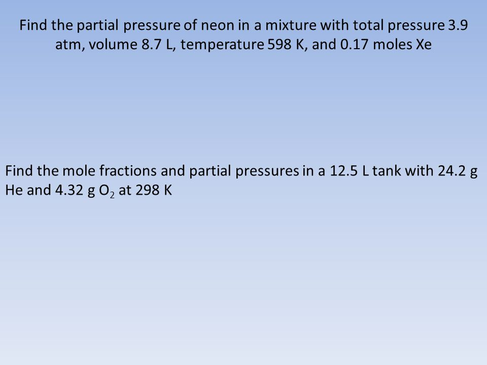 Find the partial pressure of neon in a mixture with total pressure 3
