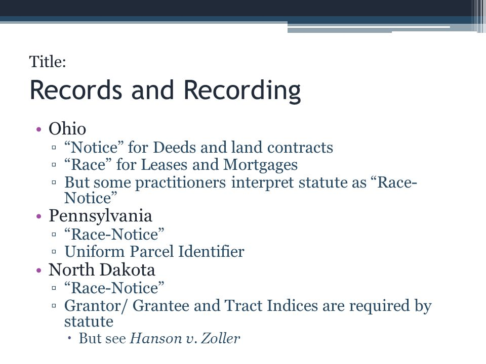Records and Recording Ohio Pennsylvania North Dakota Title: