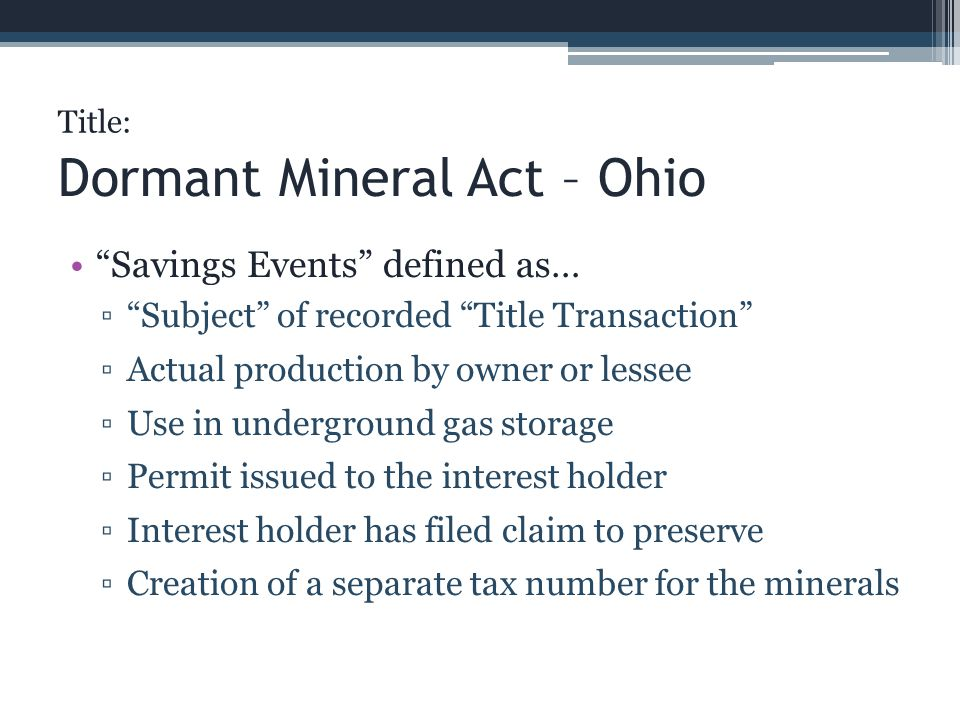 Dormant Mineral Act – Ohio