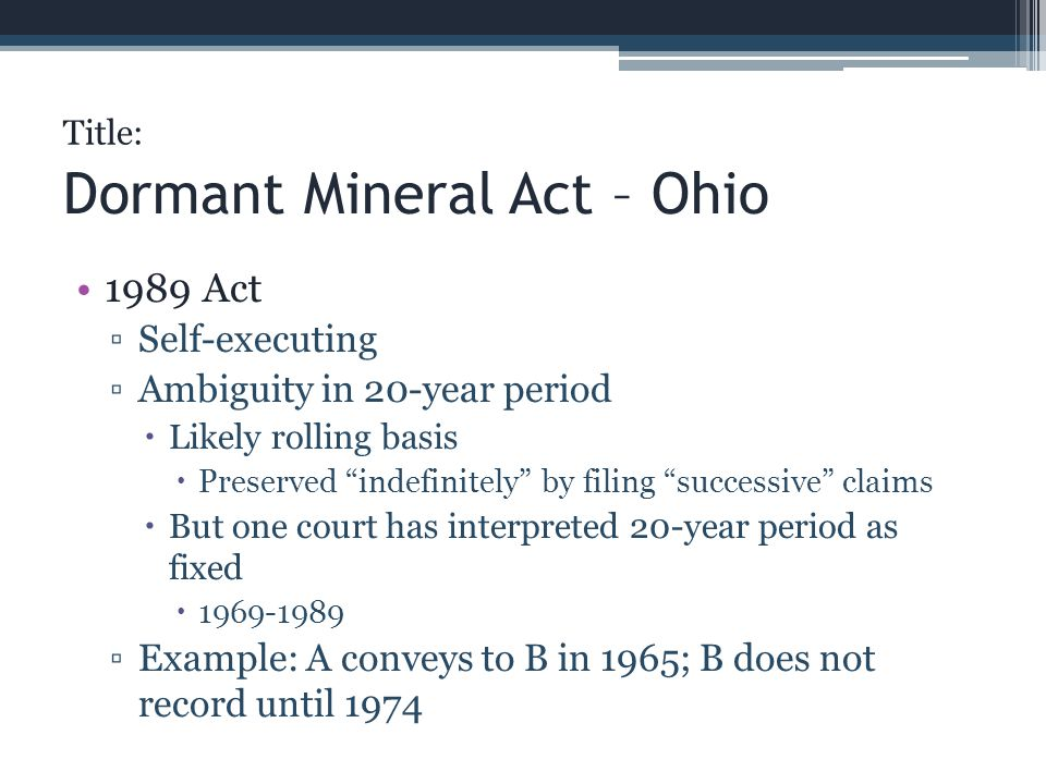 Dormant Mineral Act – Ohio