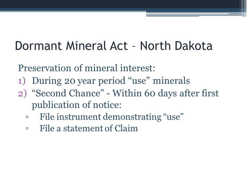 Dormant Mineral Act – North Dakota