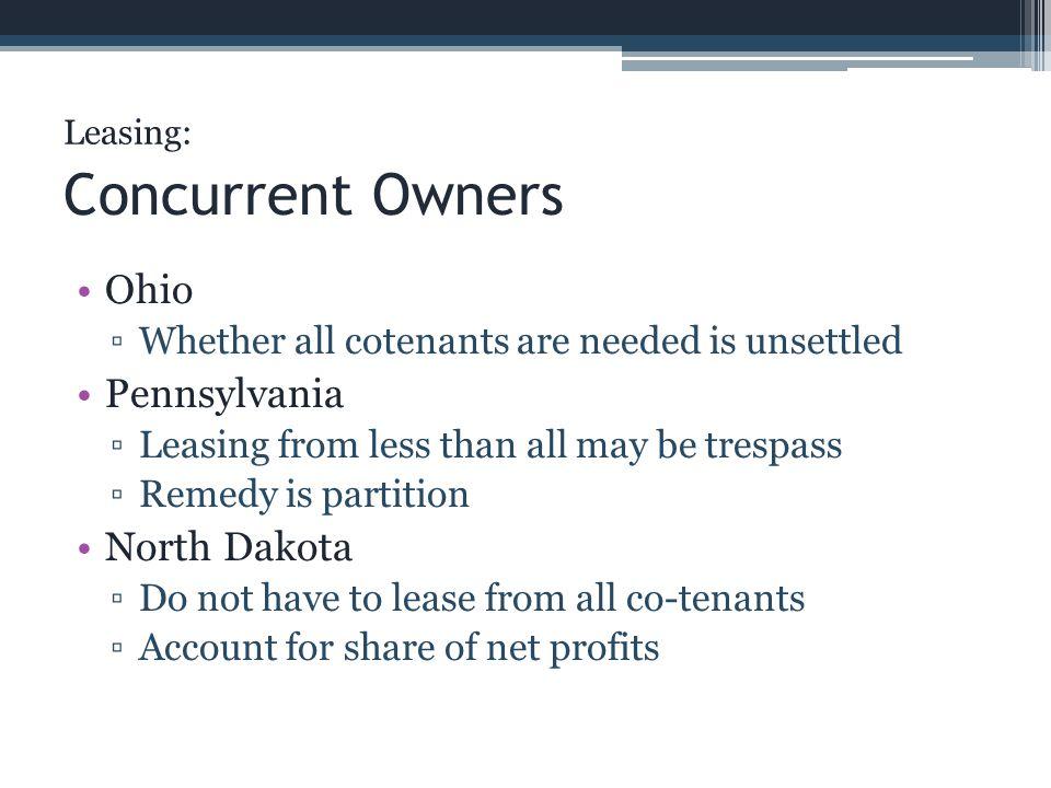 Concurrent Owners Ohio Pennsylvania North Dakota