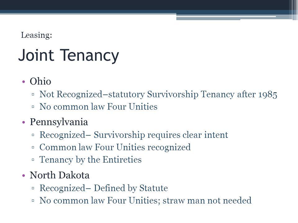 Joint Tenancy Ohio Pennsylvania North Dakota