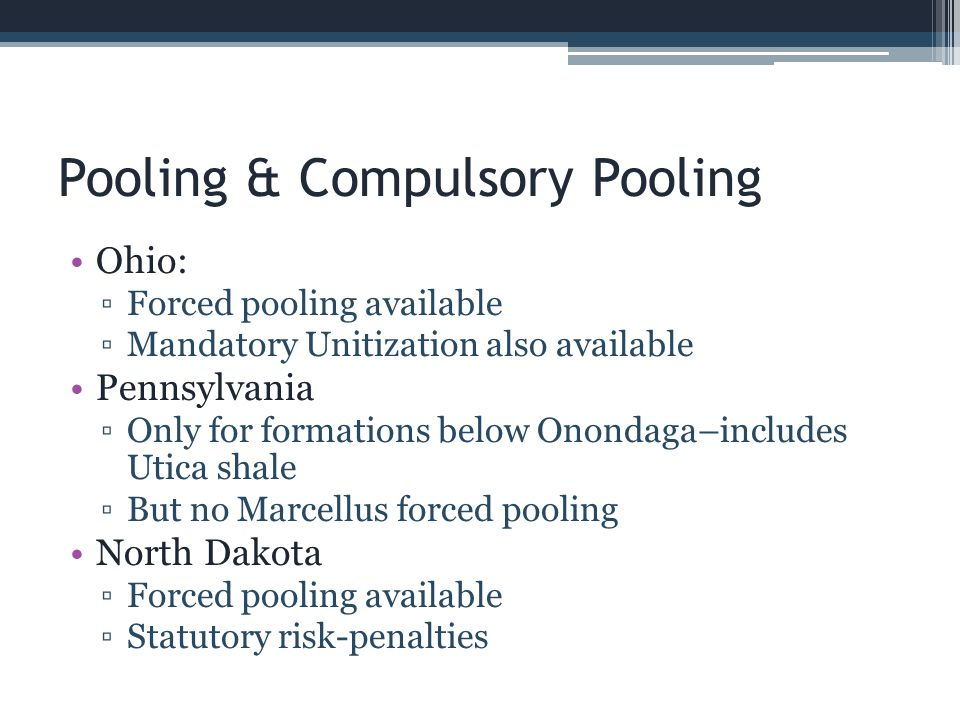 Pooling & Compulsory Pooling