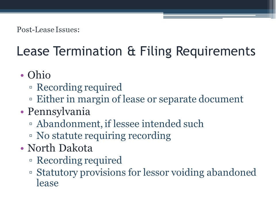 Lease Termination & Filing Requirements