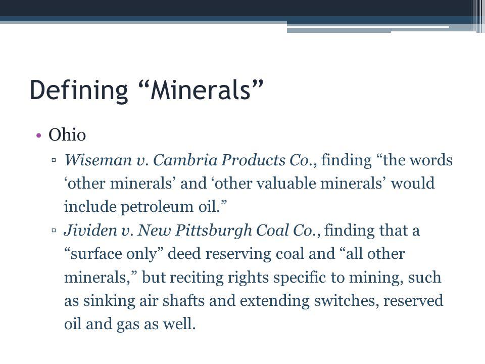 Defining Minerals Ohio