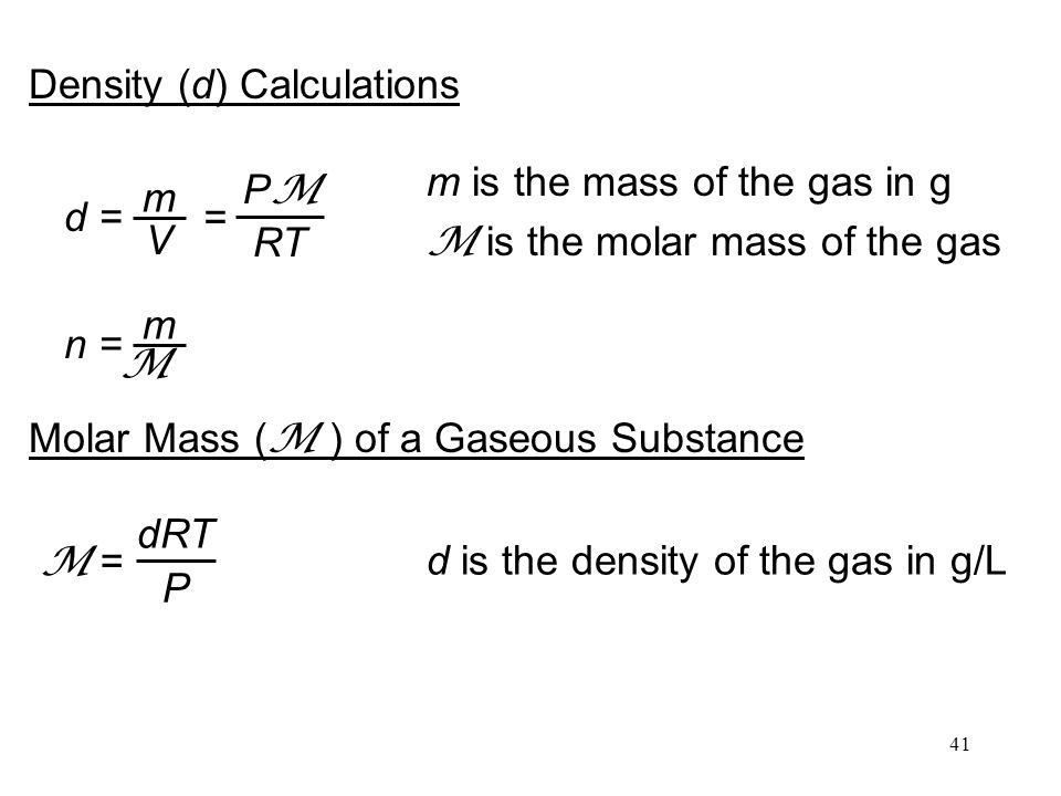 d is the density of the gas in g/L