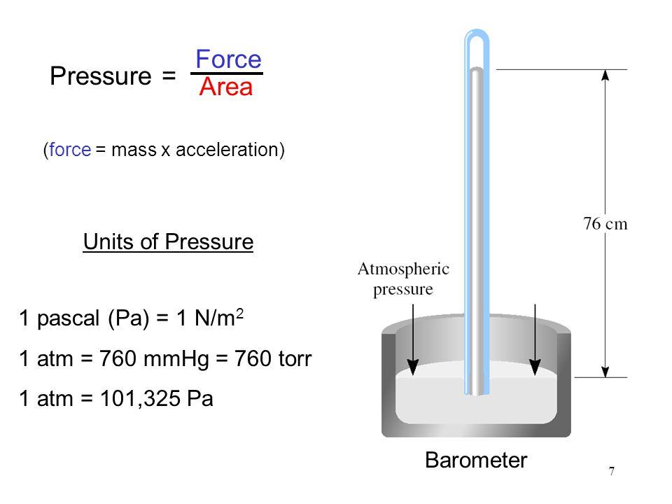 (force = mass x acceleration)