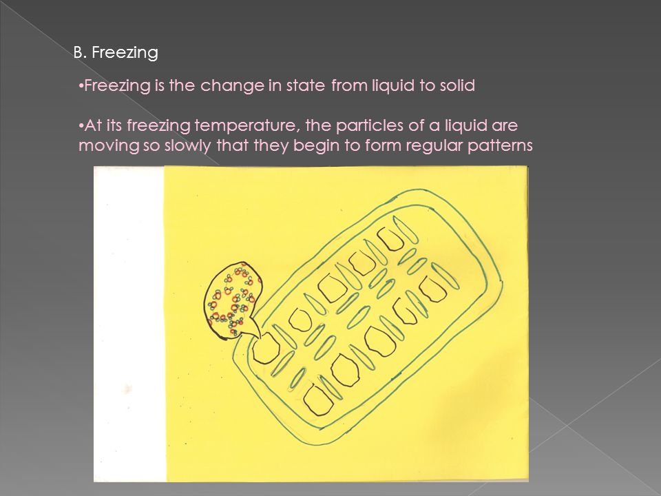 B. Freezing Freezing is the change in state from liquid to solid.