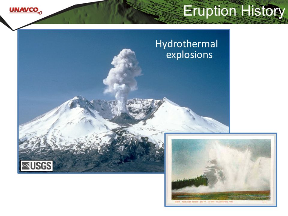 Eruption History Hydrothermal explosions
