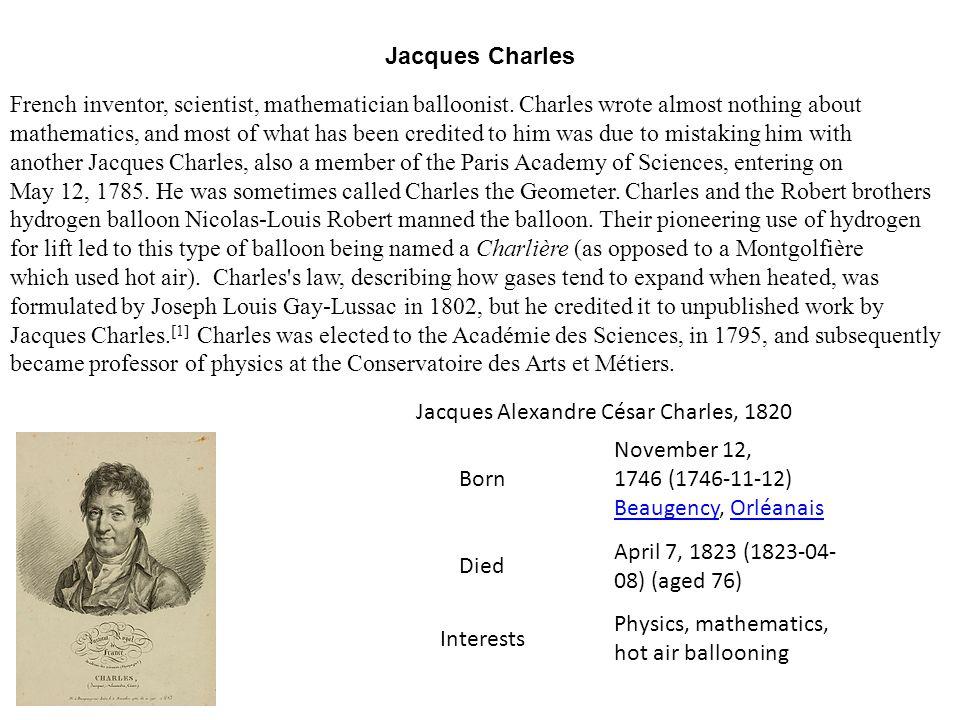 Jacques Alexandre César Charles, 1820