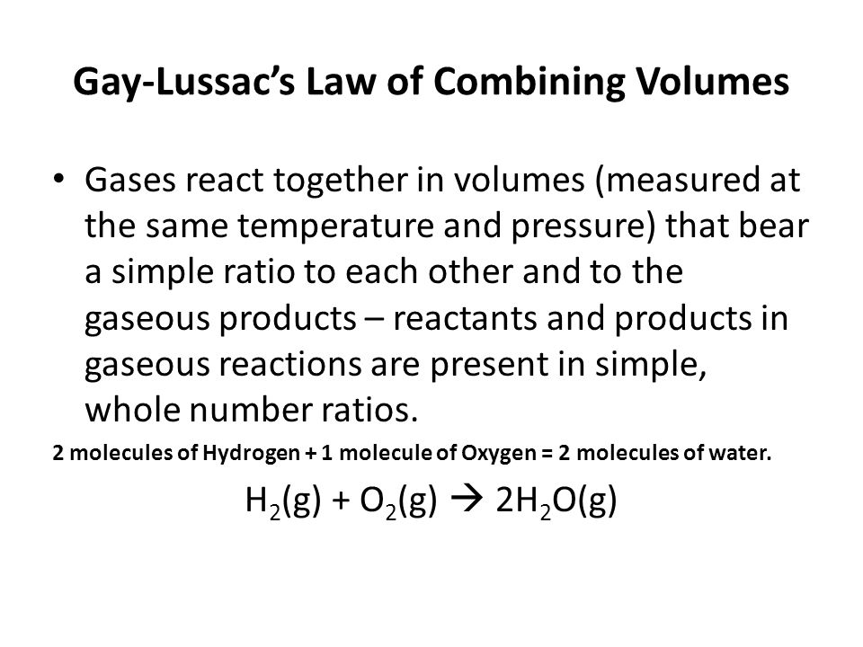 Gay-Lussac's Law of Combining Volumes