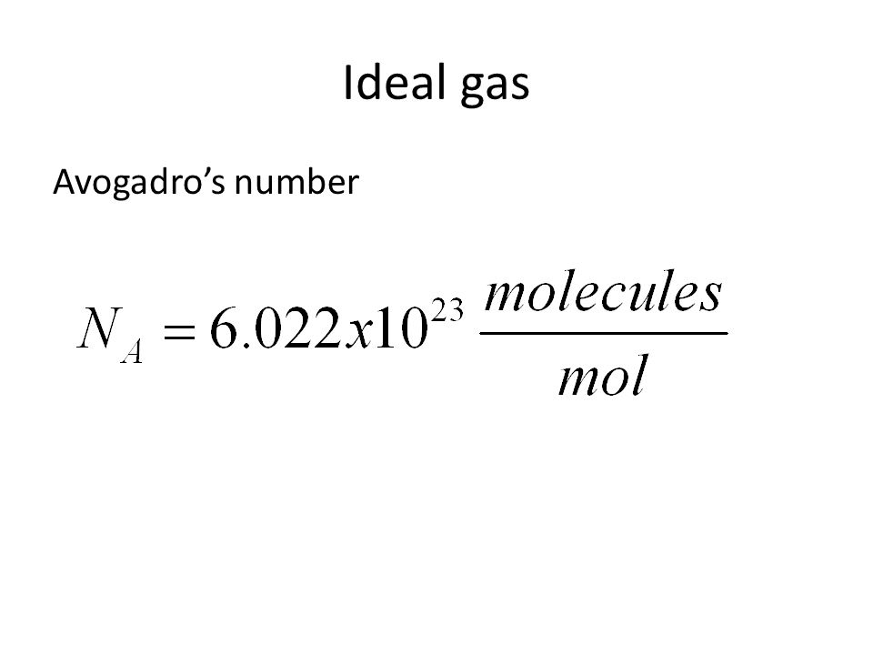 Ideal gas Avogadro's number
