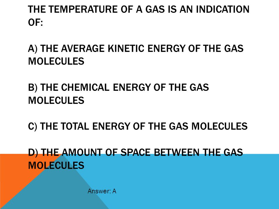 The temperature of a gas is aN indication of: