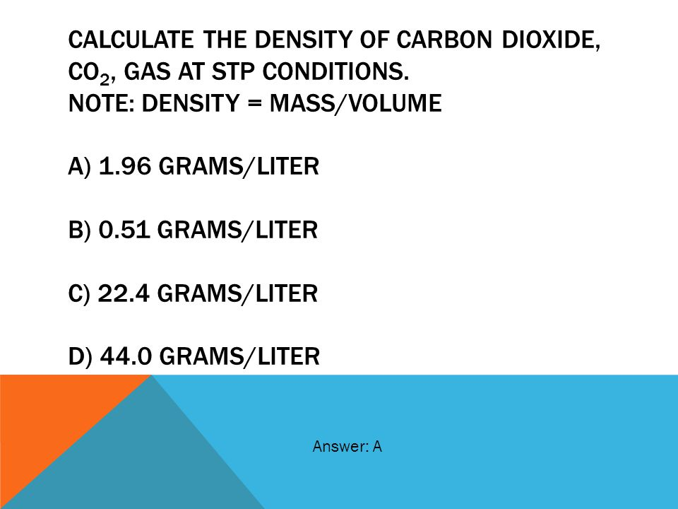 Calculate the density of carbon dioxide, CO2, gas at STP Conditions