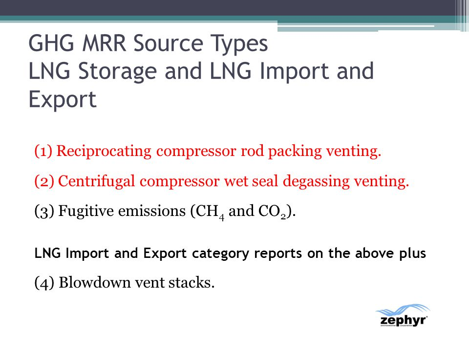 GHG MRR Source Types LNG Storage and LNG Import and Export