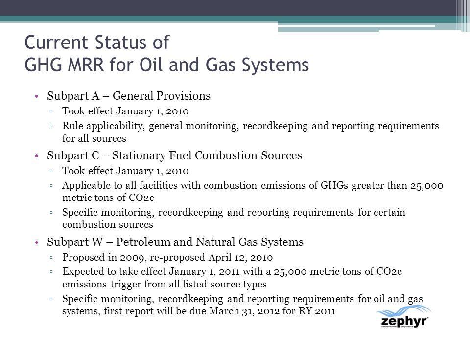 Current Status of GHG MRR for Oil and Gas Systems