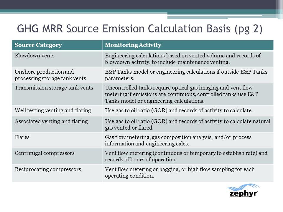 GHG MRR Source Emission Calculation Basis (pg 2)