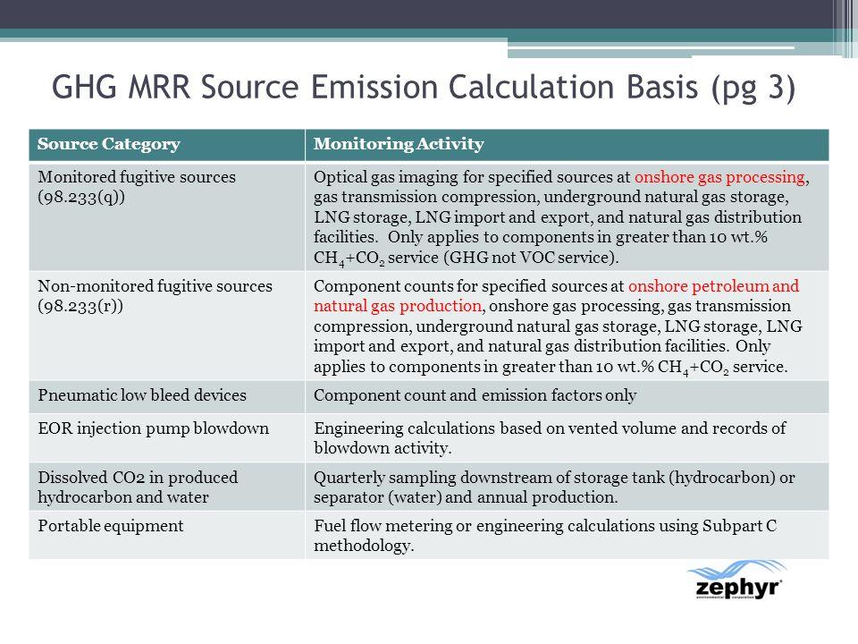 GHG MRR Source Emission Calculation Basis (pg 3)