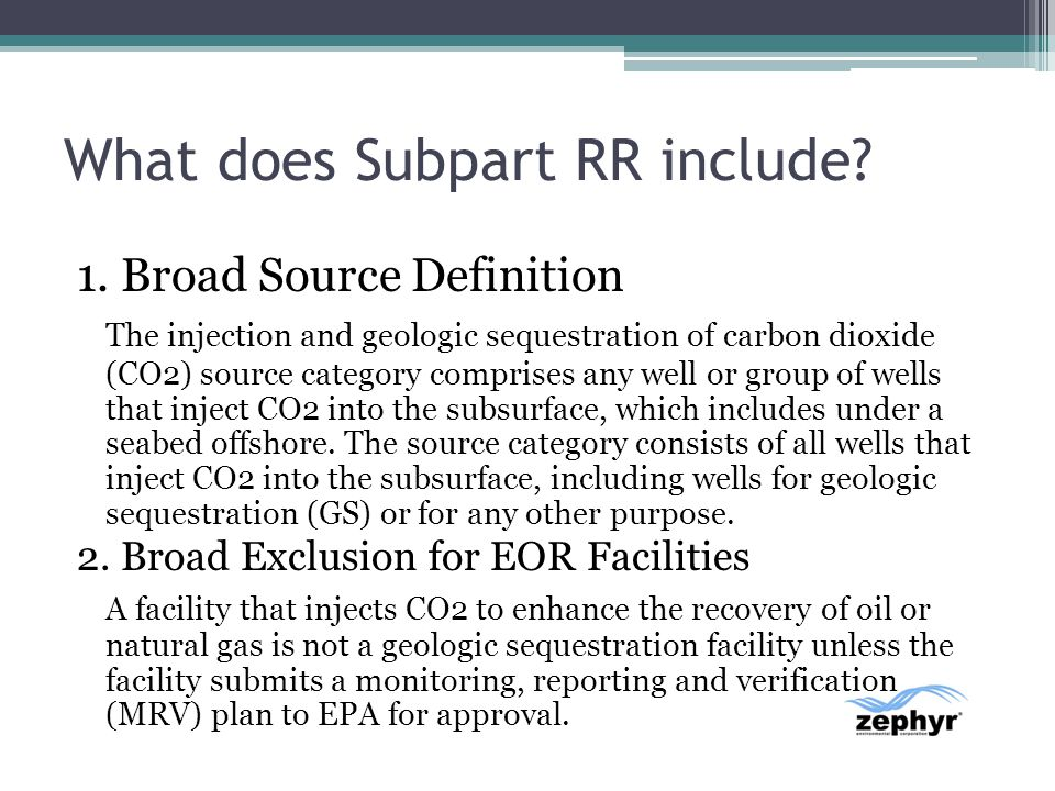 What does Subpart RR include