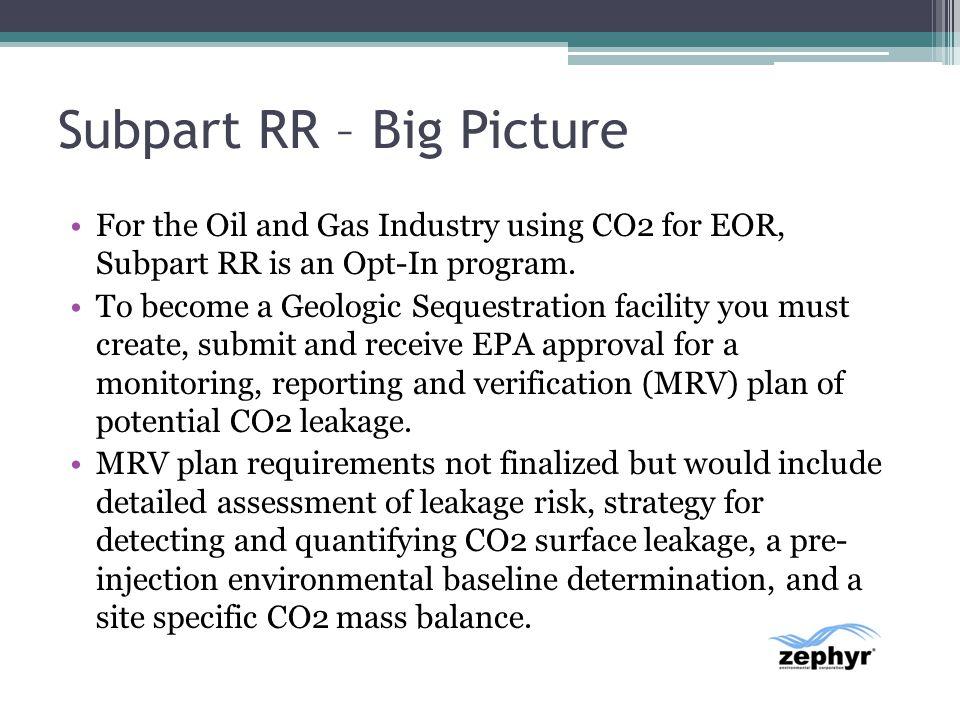 Subpart RR – Big Picture