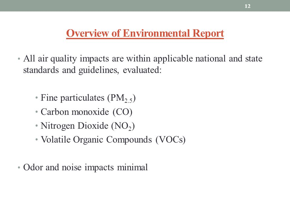 Overview of Environmental Report