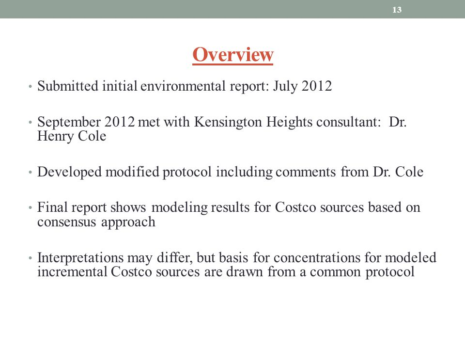Overview Submitted initial environmental report: July 2012