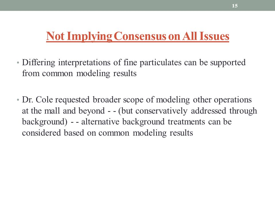 Not Implying Consensus on All Issues