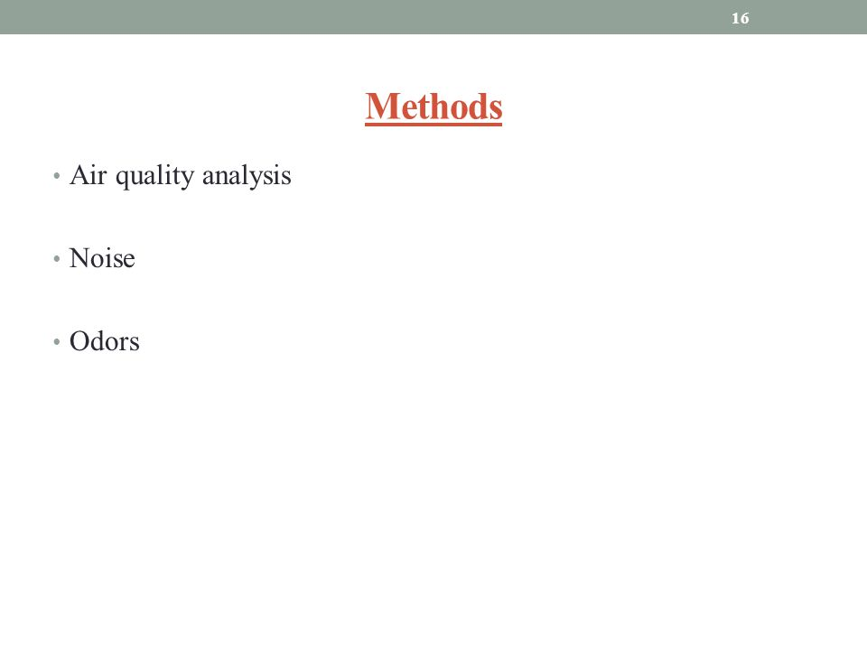 Methods Air quality analysis Noise Odors