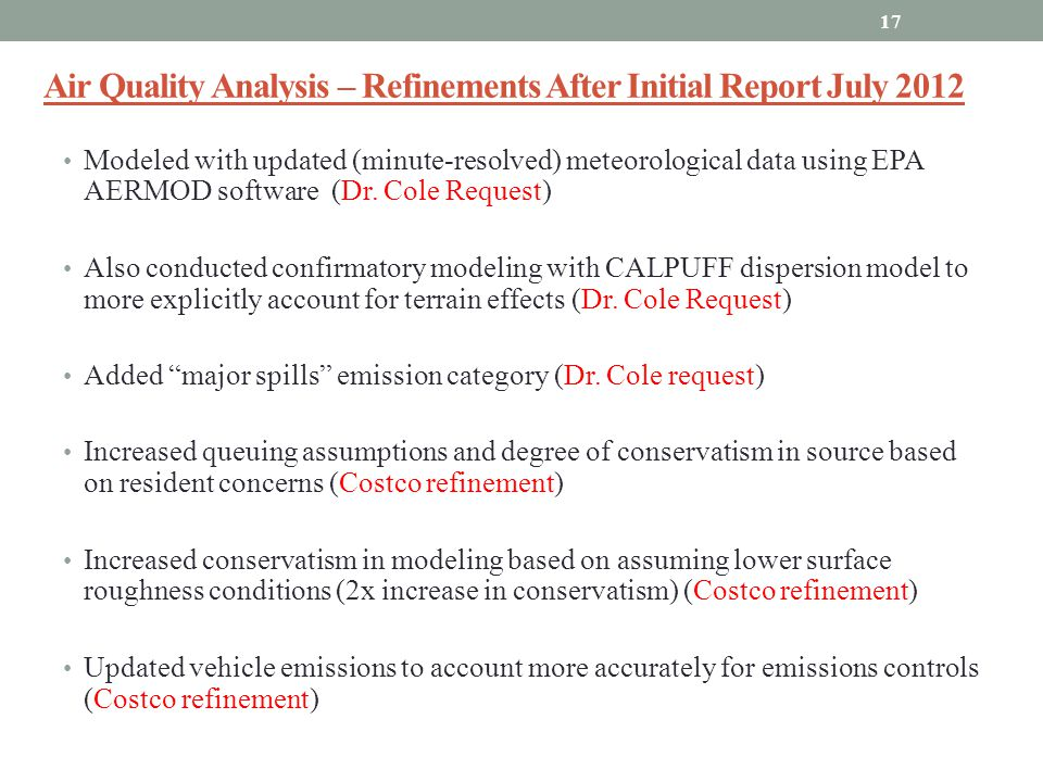 Air Quality Analysis – Refinements After Initial Report July 2012