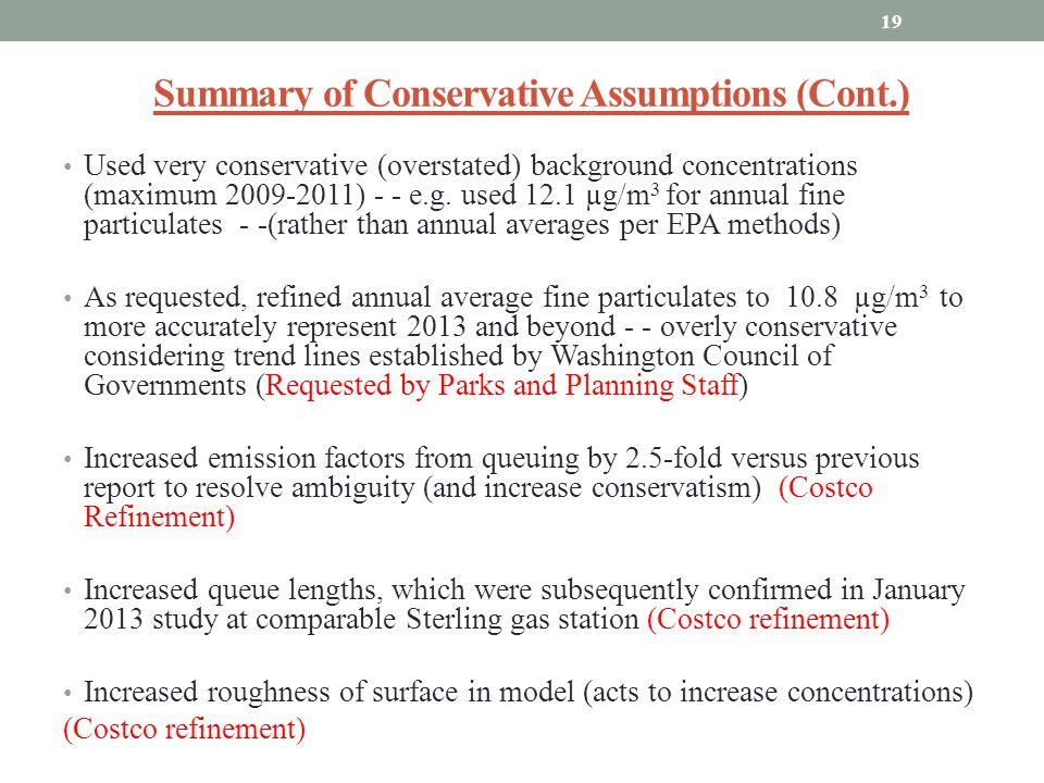 Summary of Conservative Assumptions (Cont.)