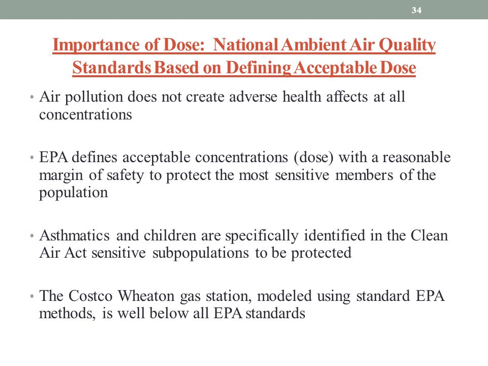 Importance of Dose: National Ambient Air Quality Standards Based on Defining Acceptable Dose
