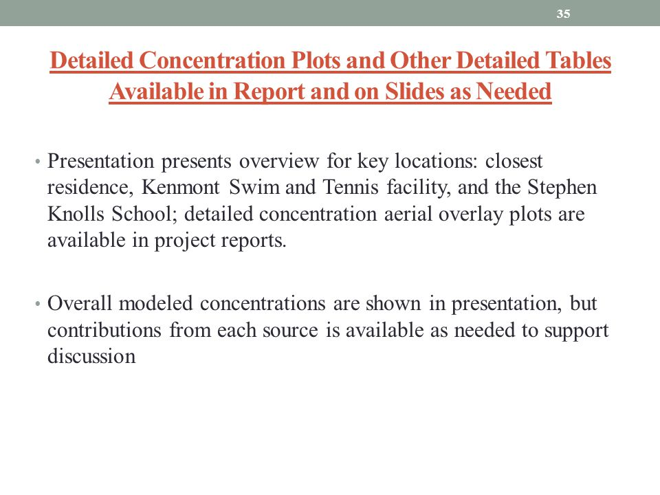 Detailed Concentration Plots and Other Detailed Tables Available in Report and on Slides as Needed