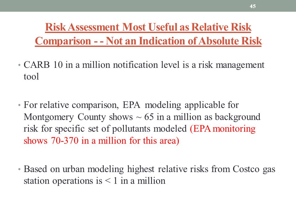 Risk Assessment Most Useful as Relative Risk Comparison - - Not an Indication of Absolute Risk