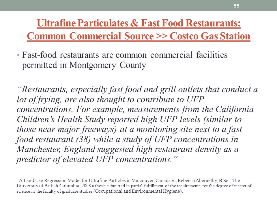 Ultrafine Particulates & Fast Food Restaurants: Common Commercial Source >> Costco Gas Station
