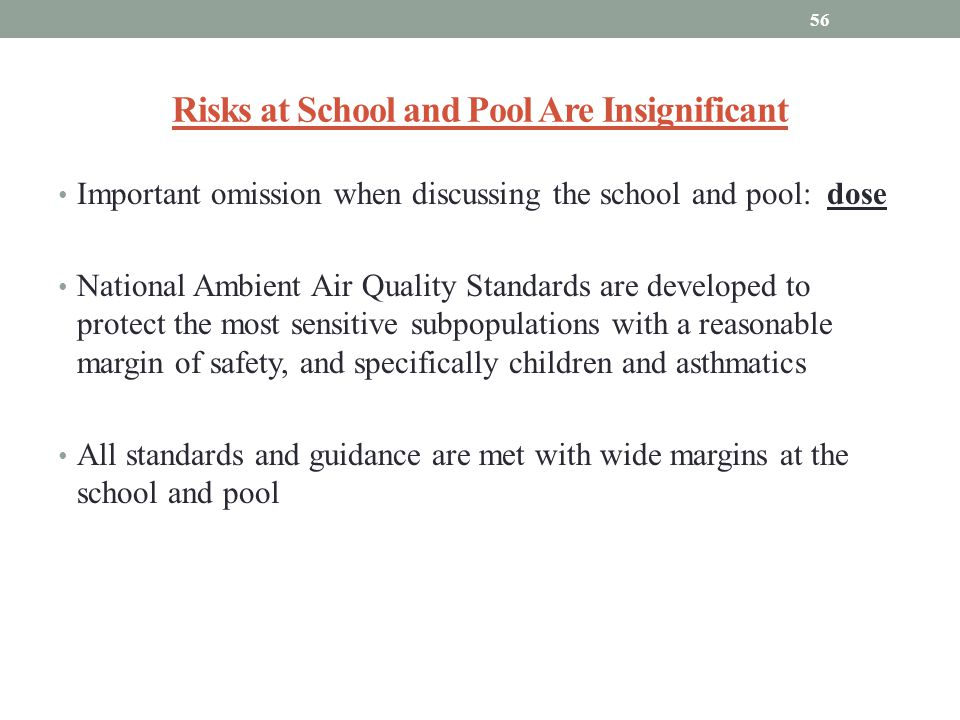 Risks at School and Pool Are Insignificant
