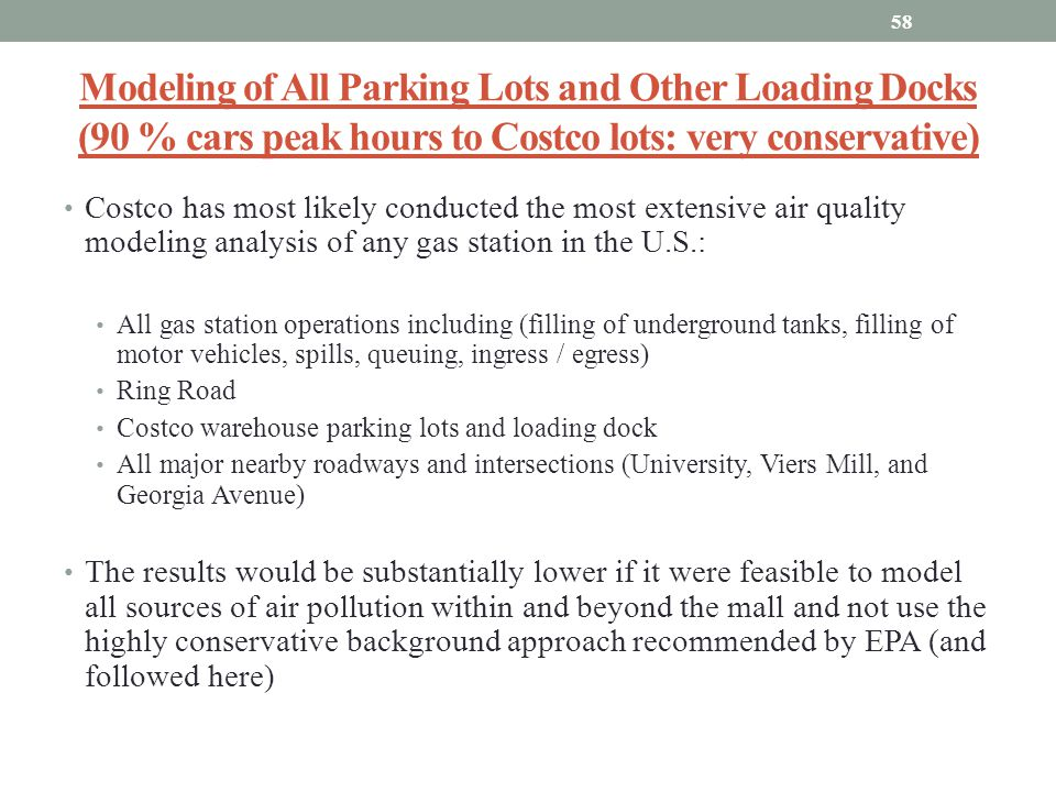 Modeling of All Parking Lots and Other Loading Docks (90 % cars peak hours to Costco lots: very conservative)