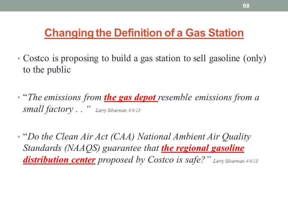 Changing the Definition of a Gas Station