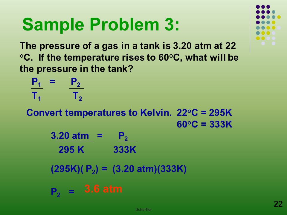 Sample Problem 3: The pressure of a gas in a tank is 3.20 atm at 22 oC. If the temperature rises to 60oC, what will be the pressure in the tank