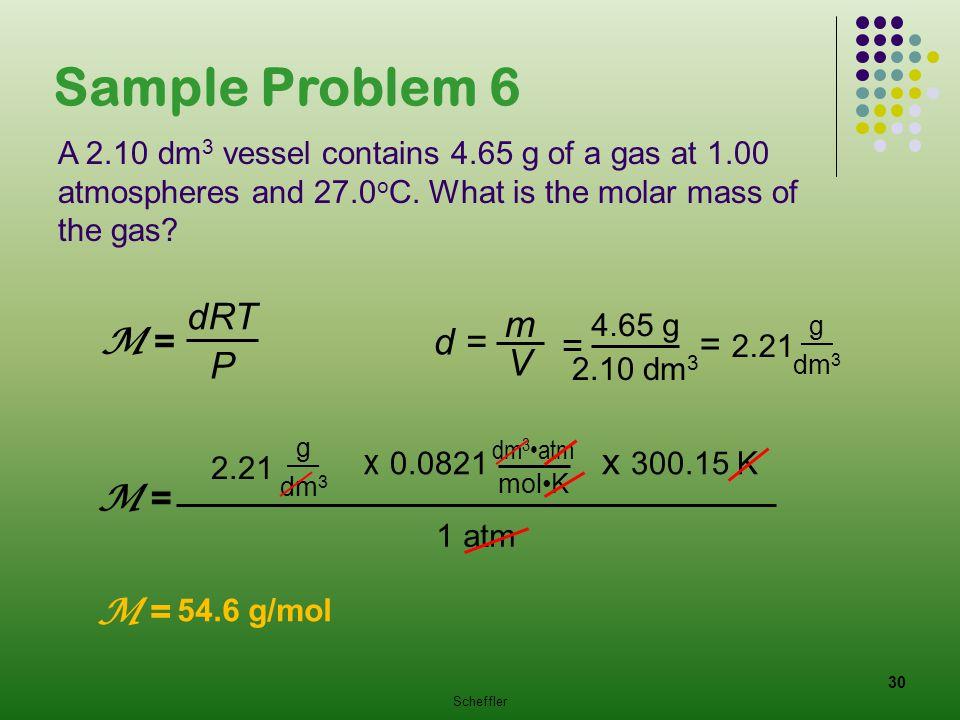 Sample Problem 6 dRT m M = d = = = 2.21 V P x 0.0821 x 300.15 K M =