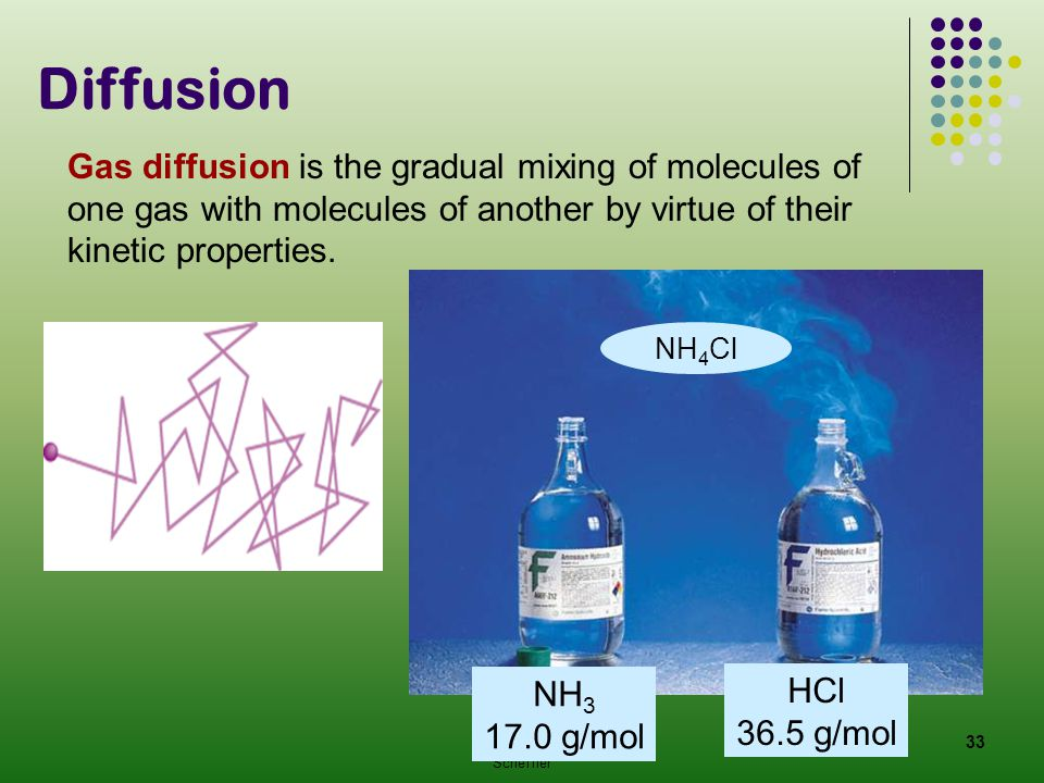 Diffusion Gas diffusion is the gradual mixing of molecules of one gas with molecules of another by virtue of their kinetic properties.