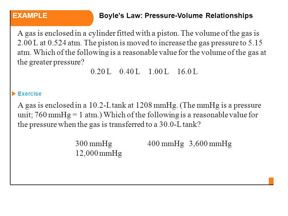 EXAMPLE Boyle s Law: Pressure-Volume Relationships.