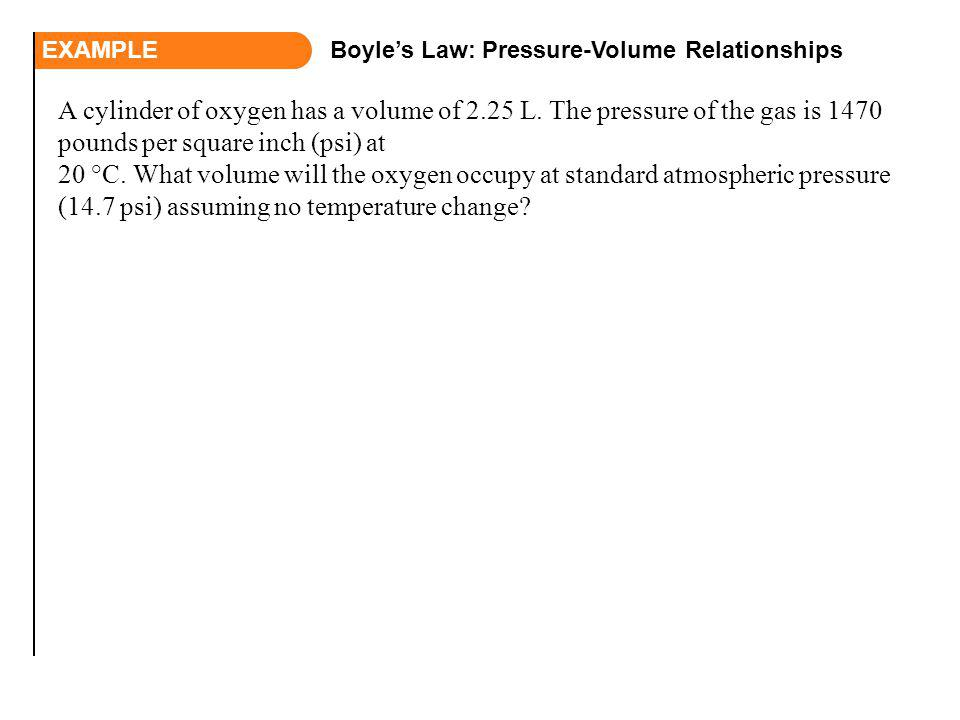 EXAMPLE Boyle's Law: Pressure-Volume Relationships.