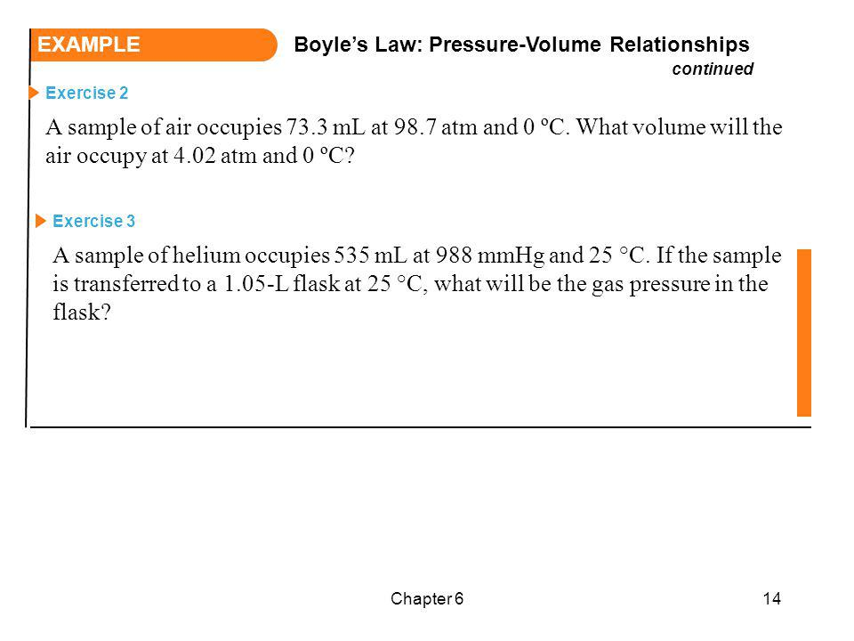 EXAMPLE Boyle's Law: Pressure-Volume Relationships. continued.