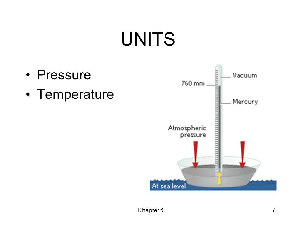 UNITS Pressure Temperature Chapter 6