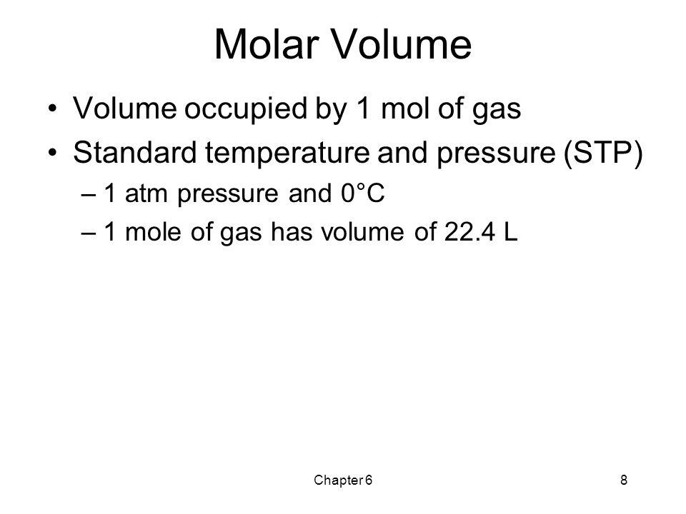 Molar Volume Volume occupied by 1 mol of gas