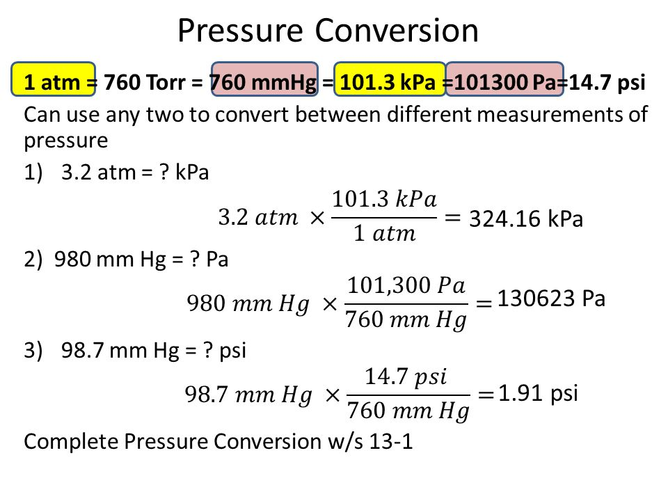 Pressure Conversion 324.16 kPa 130623 Pa 1.91 psi