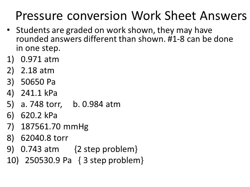 Pressure conversion Work Sheet Answers